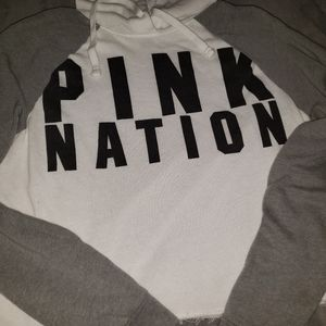 PINK Grey and White Cropped Hoodie